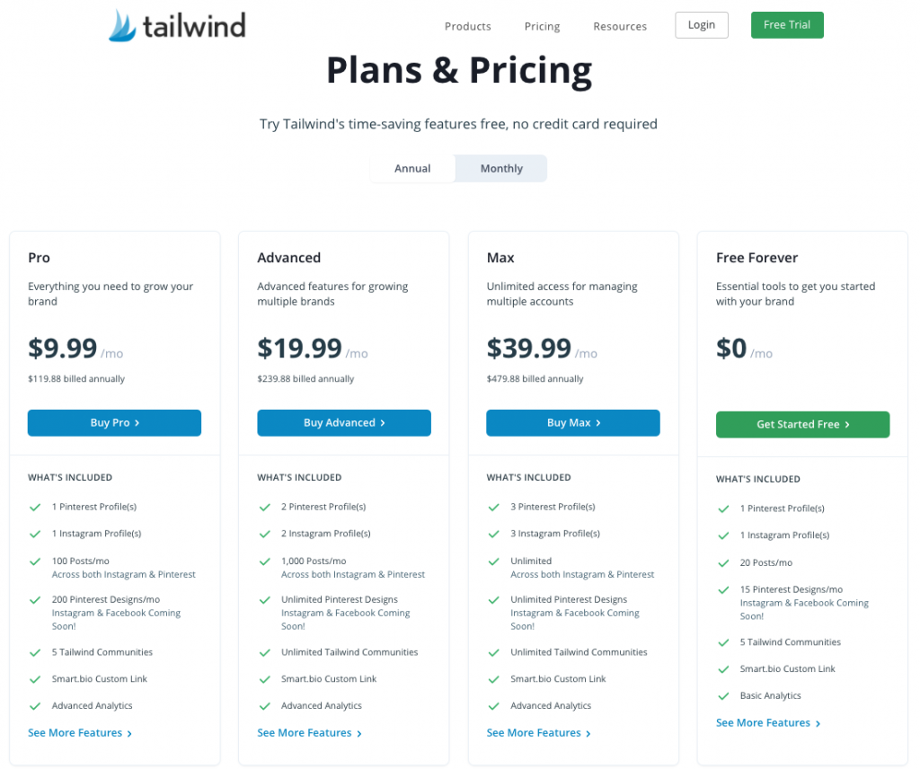 tailwind pricing chart including forever free plan